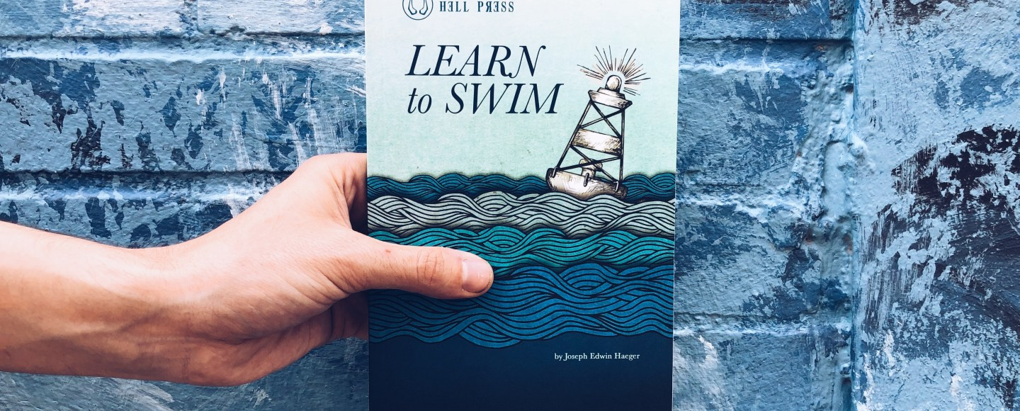 This is the original paperback photograph of Learn to Swim by Joseph Haeger and University of Hell Press, from Independent Book Review