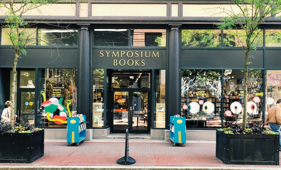 This is the exterior of Symposium Books in Providence, Rhode Island