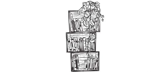 Bookshelf with plants on top is a logo for Independent Book Review