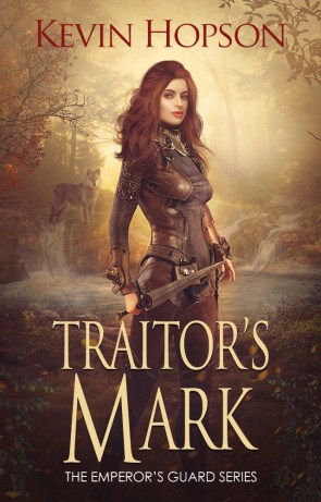 This is the book cover for Traitor's Mark by Kevin Hopson, a woman in the woods with a sword, as reviewed by Independent Book Review