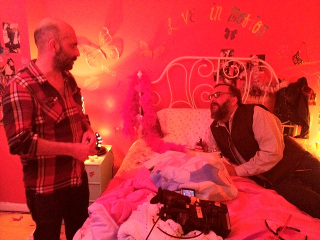 "Gaspar Noé on the set of the music video ""Love in Motion"" (2012)"