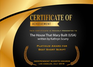 "ISA Certificate of Achievement for ""The House That Mary Built"" written by Kathryn L. Scurry"