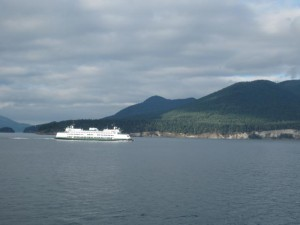 Watching the eastbound ferry from the westbound ferry