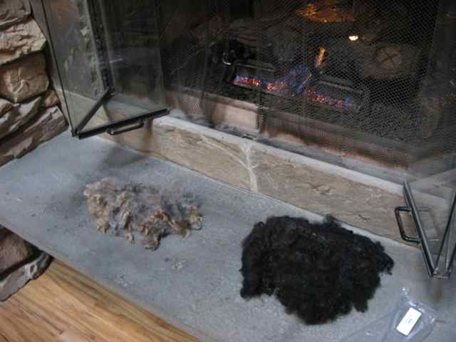 Fiber drying by the fireplace in the Lakedale lodge