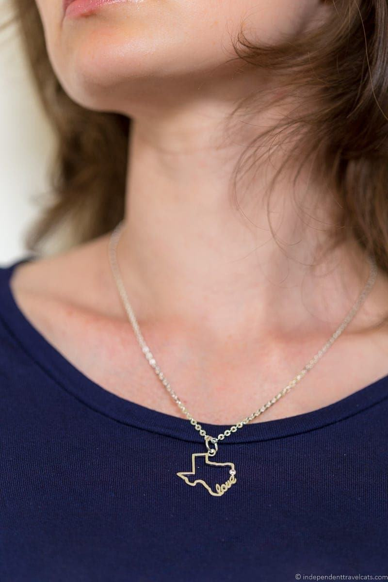 Texas state necklace travel jewelry traveling inspried jewellery