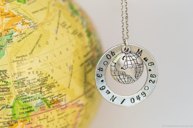 coordinates necklace travel jewelry traveling inspried jewellery