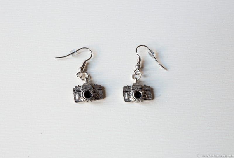 camera earrings handmade travel jewelry traveling inspried jewellery