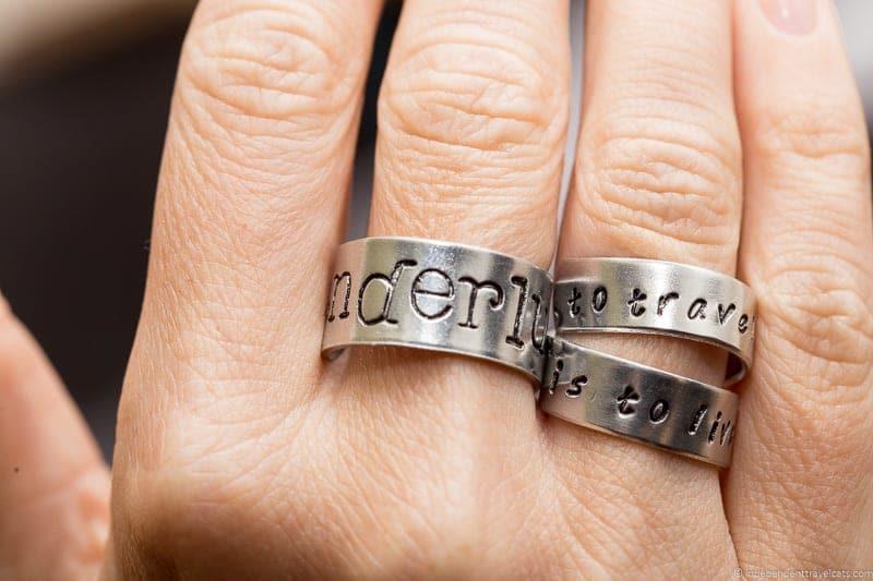 handstamped ring wanderlust traveling inspried jewellery