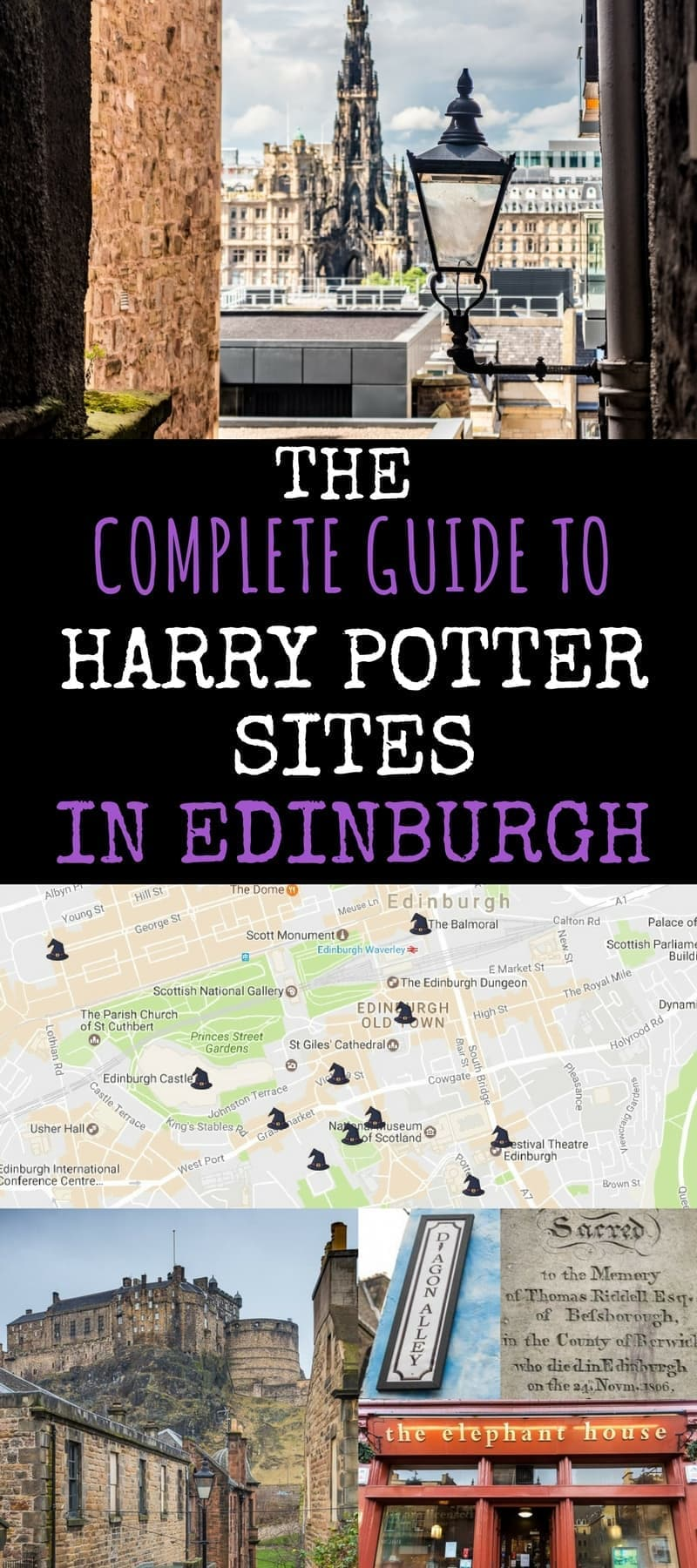 Comprehensive Guide to all the Harry Potter sites in Edinburgh Scotland. Want to sit and sip coffee in the same café that J.K. Rowling wrote the Harry Potter books? See turreted buildings that may have been the inspiration for Hogwarts? See graves and streets that may have influenced the names of Harry Potter characters? Drink a pint of butterbeer in a local pub? We'll provide not only a list of the top Harry Potter sites in Edinburgh and how to visit them, but we'll also try to separate fact from fiction in their relationship to Harry Potter and his famous inventor.