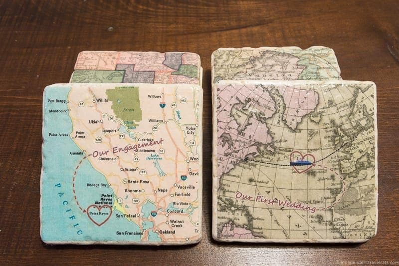 personalized map coasters Travel Home Decor Handmade Travel Themed Home Decorations