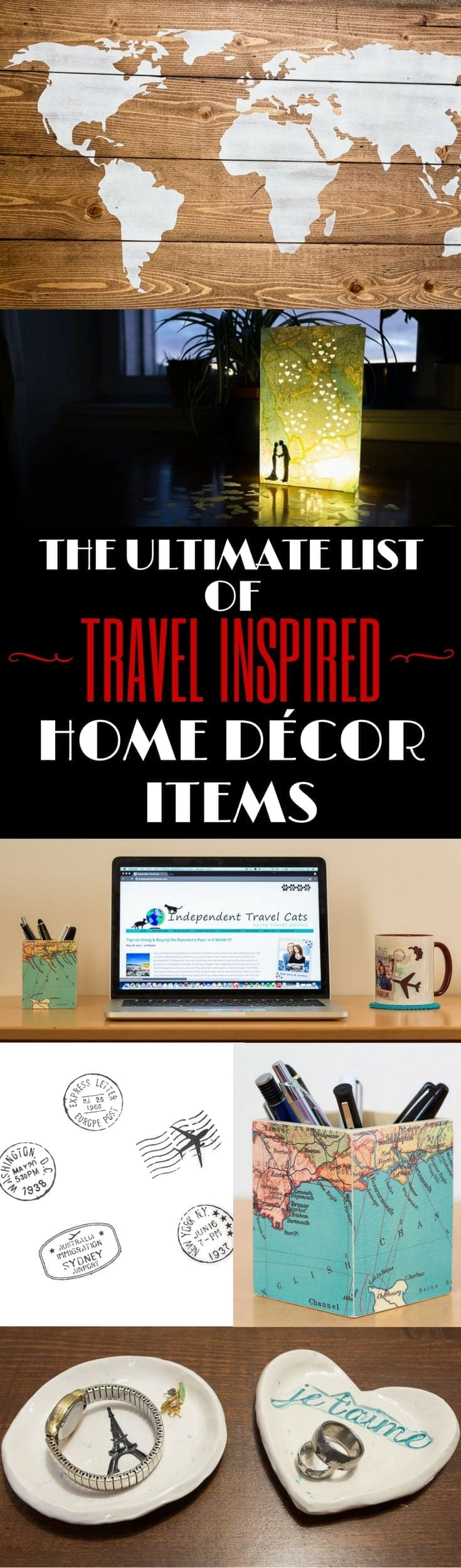 Ultimate list of travel themed home decor items for every room of your house or for a gift for a special traveler. All these travel inspired pieces are handmade and reviewed. List includes shower curtains, rugs, wall art, blankets, pillows, candles, coffee mugs, lampshades, and much more!