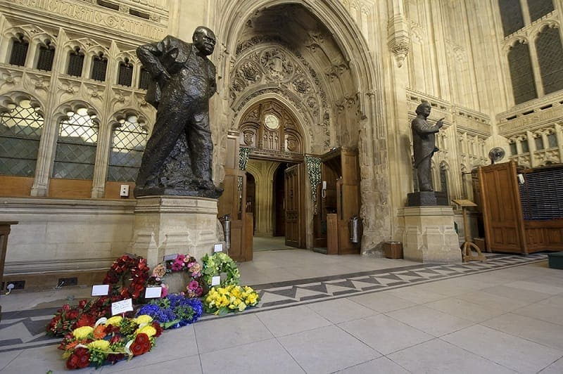 Churchill Arch and statue Houses of Parliament - top Winston Churchill sites in England