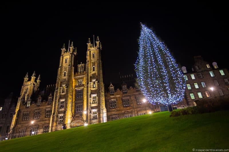 Christmas tree in Edinburgh Scotland December holidays