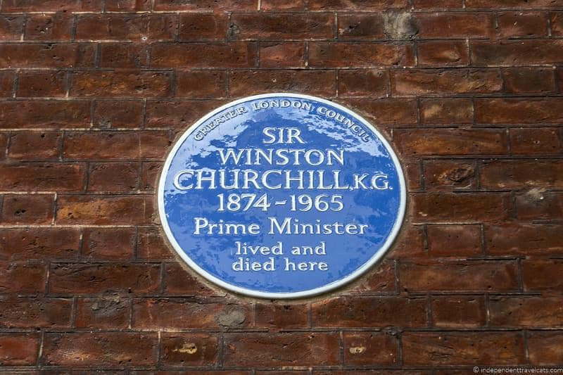 blue plaque Winston Churchill in London sites attractions England UK