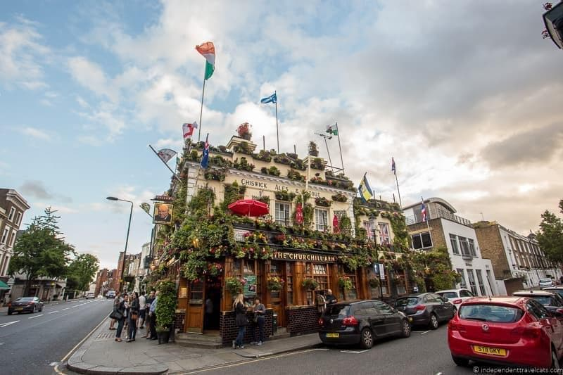 Churchill Arms pub Winston Churchill in London sites attractions England UK