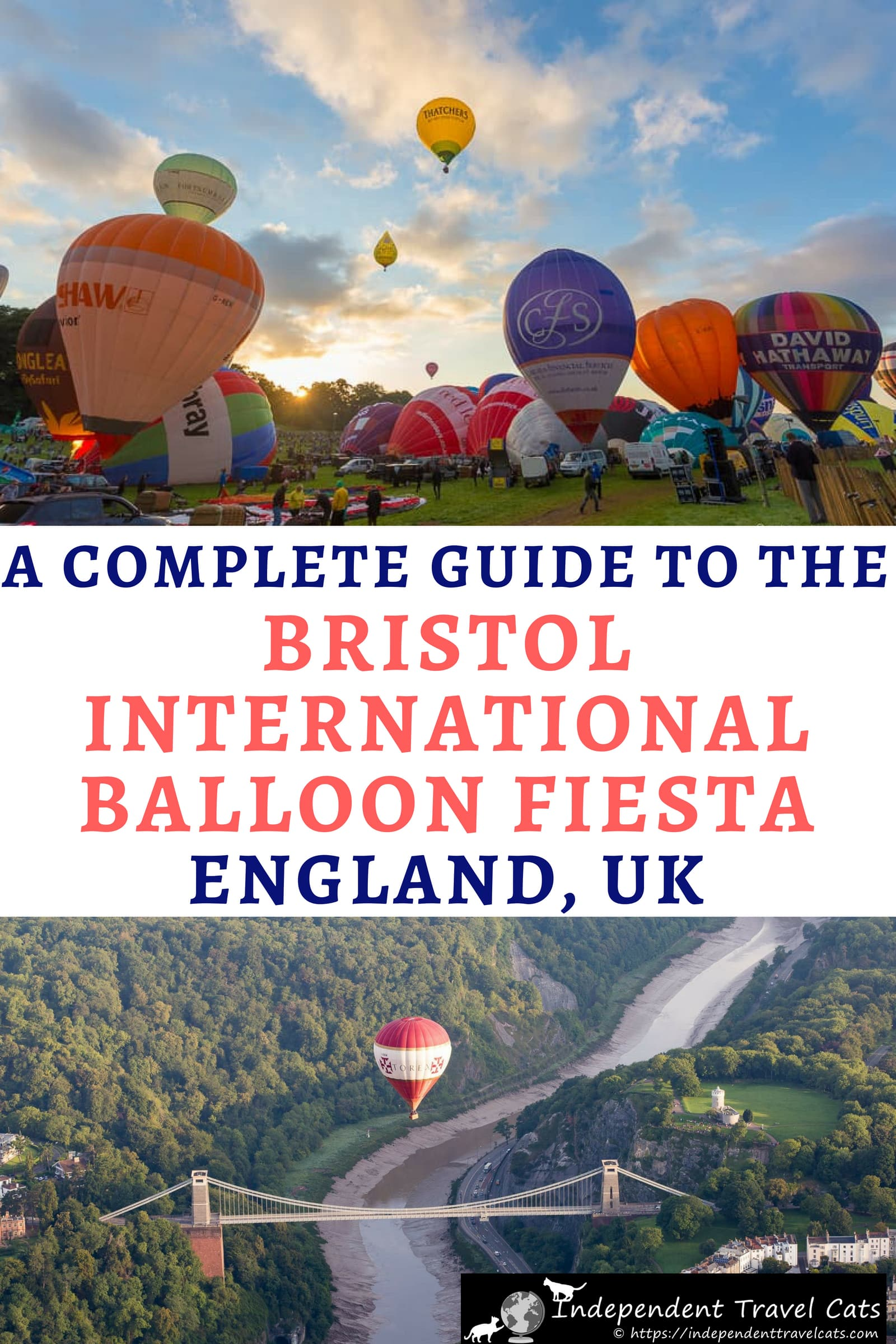 A guide to attending the Bristol International Balloon Fiesta, the largest annual hot air balloon event in Europe. The Bristol Balloon Fiesta events include the mass ascension of over 100 hot air balloons, nightglows, balloon competitions, fireworks, and family attractions. We share all the information you need to plan your trip, book your stay, park, and enjoy the festival. #BristolBalloonFiesta #hotairballoon #balloonfiesta #ballooning #Bristol #England #travel #festival #UKfestival