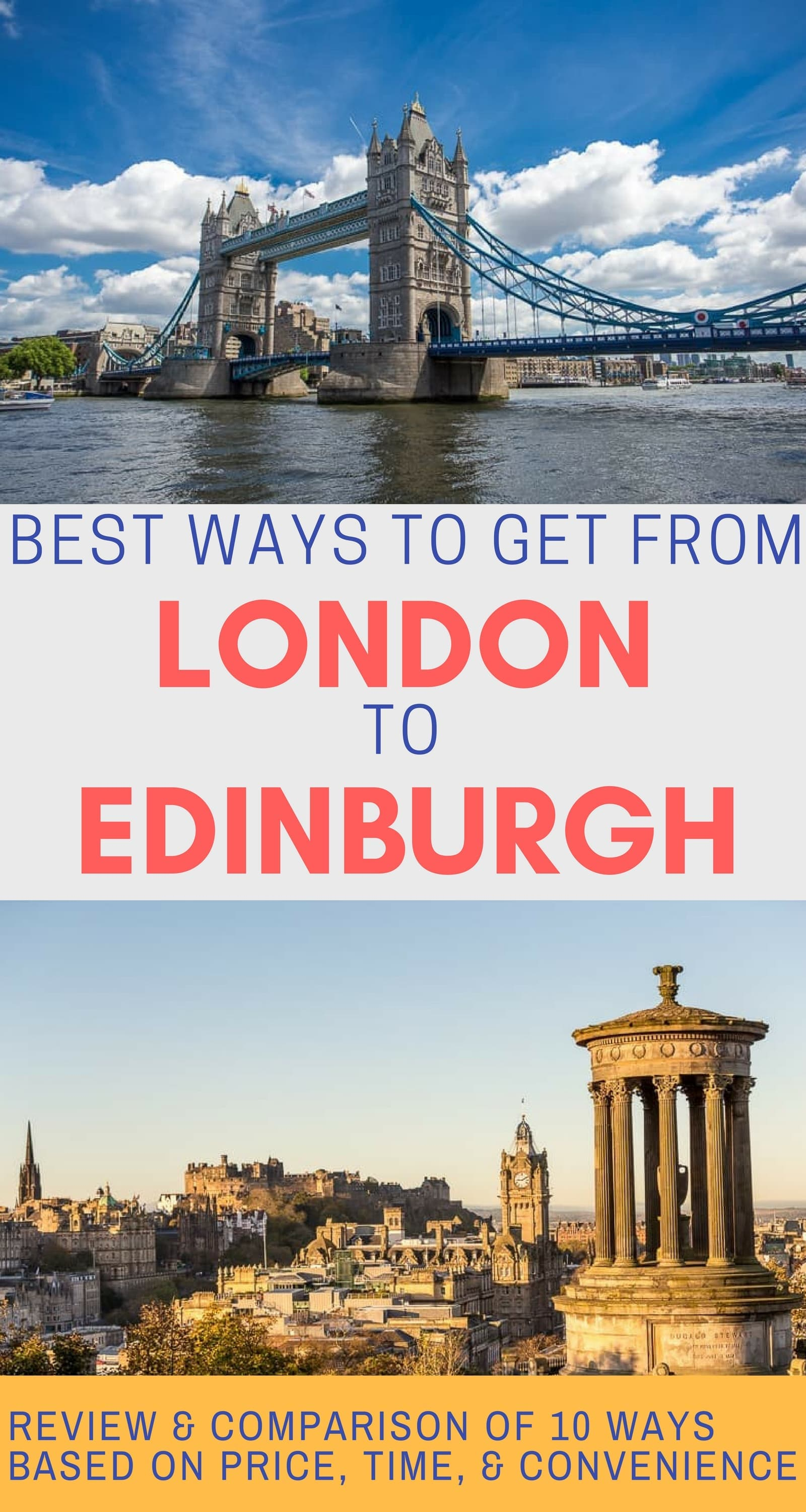 A guide to how to get from London to Edinburgh or vice versa. The article reviews 10 different way to travel from London to Edinburgh and compares them by price, time, and convenience. Includes flying, trains, buses, driving, ride sharing, biking, tours, and private transfers. #London #Edinburgh #LondontoEdinburgh #UKtravel