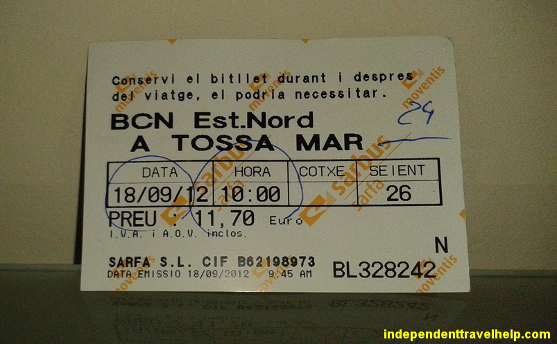bus ticket, travel, independent travel, spain, catalunya