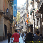 barcelona, spain, catalunya, catalonia, europe, street, people, shops, flags