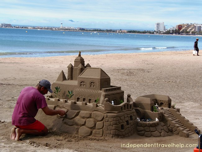 sand castle, sand, roses, costa brava, beaches