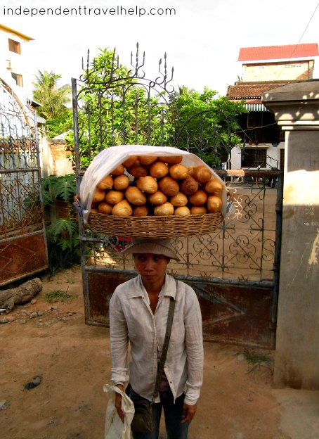baguettes, bread, lady, woman, cambodia, siem reap