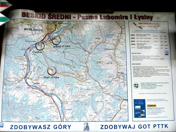 Map of hike from Gora Chelm to Zarabie