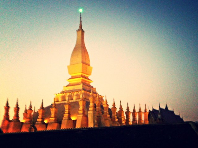 Pha That Luang is a gold-covered large Buddhist stupa in the centre of Vientiane, Laos is the most important national symbol in Laos.