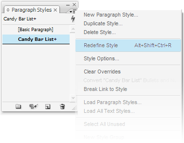 Figure 3: Redefine Style on the Paragraph Styles panel