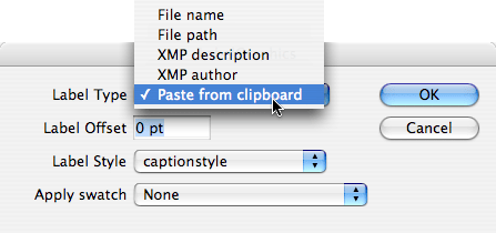 The modified LabelGraphics_mod.jsx script lets you paste from the clipboard.