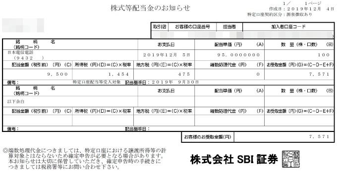 201912NTT株式等配当金のお知らせ
