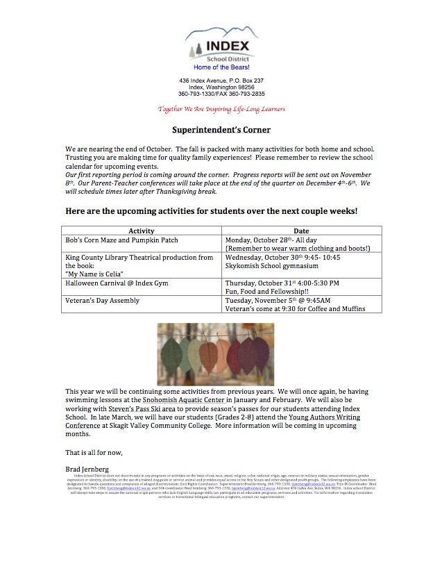 Superintendent's Corner 10-24-19