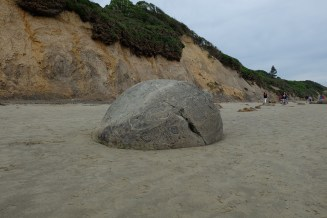 Moeraki Boulders, which is a collection of rocks just sitting at the edge of the ocean.
