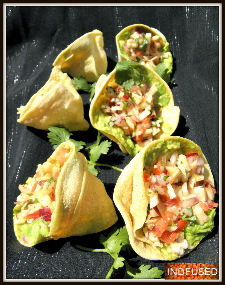 Masala Papad cones are a healthy, non fried, crunchy shells to serve the Indian fusion salad with avocado chutney