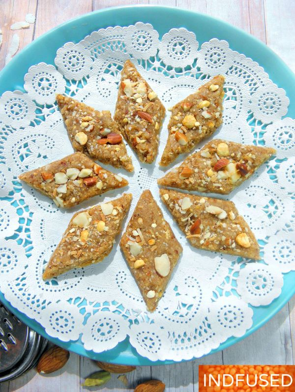 #Easy, #no syrup making #skills required, #Indian #dessert #recipe with #almonds, #coconut,#iron rich #jaggery and #pohe, #cardamom and#nutmeg, a #festival #special