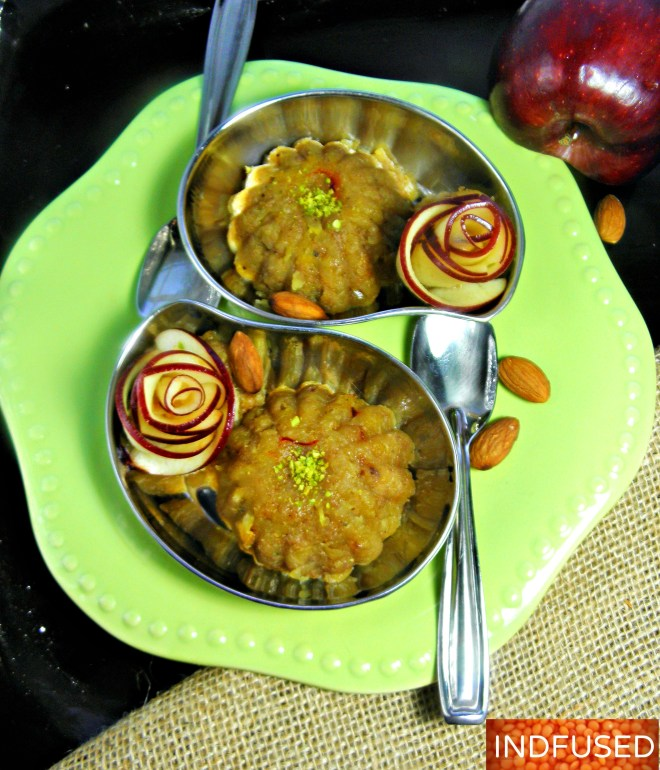 #Quick and #easy #recipe for #apple #halwa, an #Indian #dessert with #cardamom, #almonds, #saffron and #chia seed