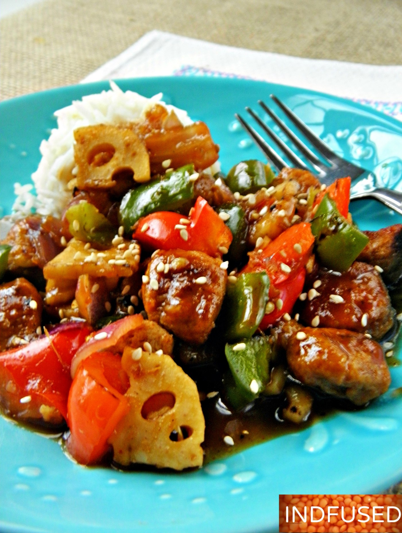 Popular # Indo Chinese,#recipe #vegetarian, soy nuggets and vegetables in a quick and easy spicy orange sauce