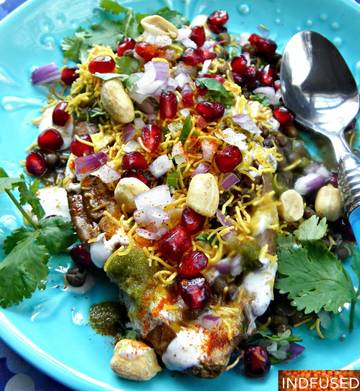 Gluten free, figure friendly, recipe for roasted sweet potatoes topped with mouthwatering Indian chaat spices and chutneys
