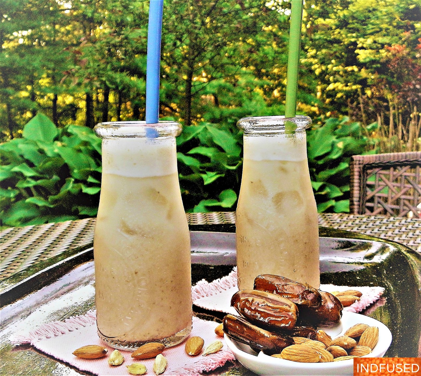 Father's Day easy recipe, nutritious, vegan, delectable milkshake made with almond milk, dates and cardamom with no added sugar!