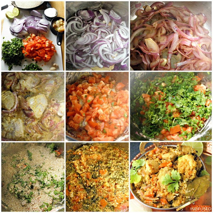 Biryani- a pictorial. Steps from left to right, top to bottom row show how easy Indfused's recipe is.