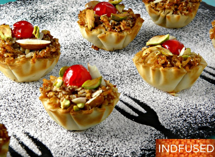 Indian fusion, easy recipe for exquisite Karanji Dessert Canapes with a coconut honey filling