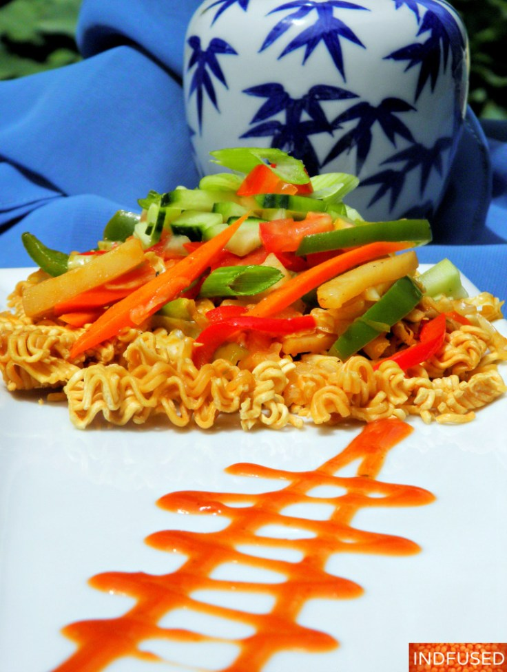 Easy recipe for Vegetarian Indian Chinese Bhel, a popular snack in India!