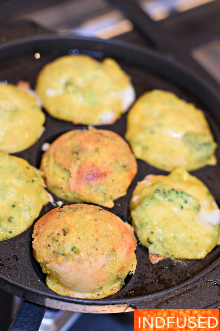 Broccoli and Cheese Mung Dal Vada- crispy on the outside, fluffy and cheesy inside vadas are ready in minutes! makes 28 vadas. Easy recipe, batter can be made ahead