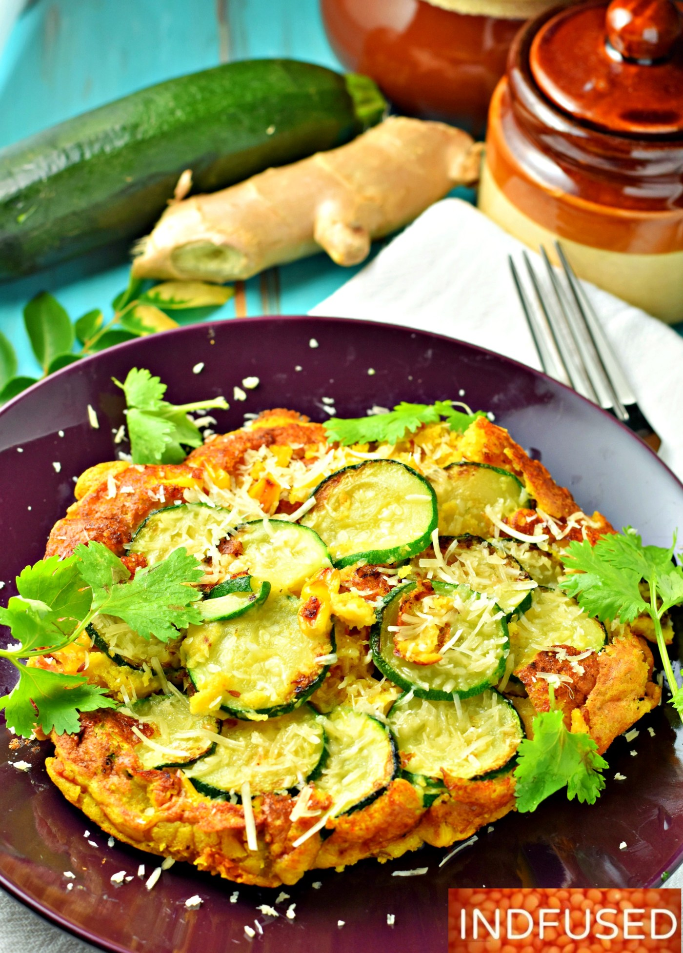 Zesty Zucchini Corn Cakes- vegan option in recipe, vegetarian, low fat recipe that is easy to make. serves 2