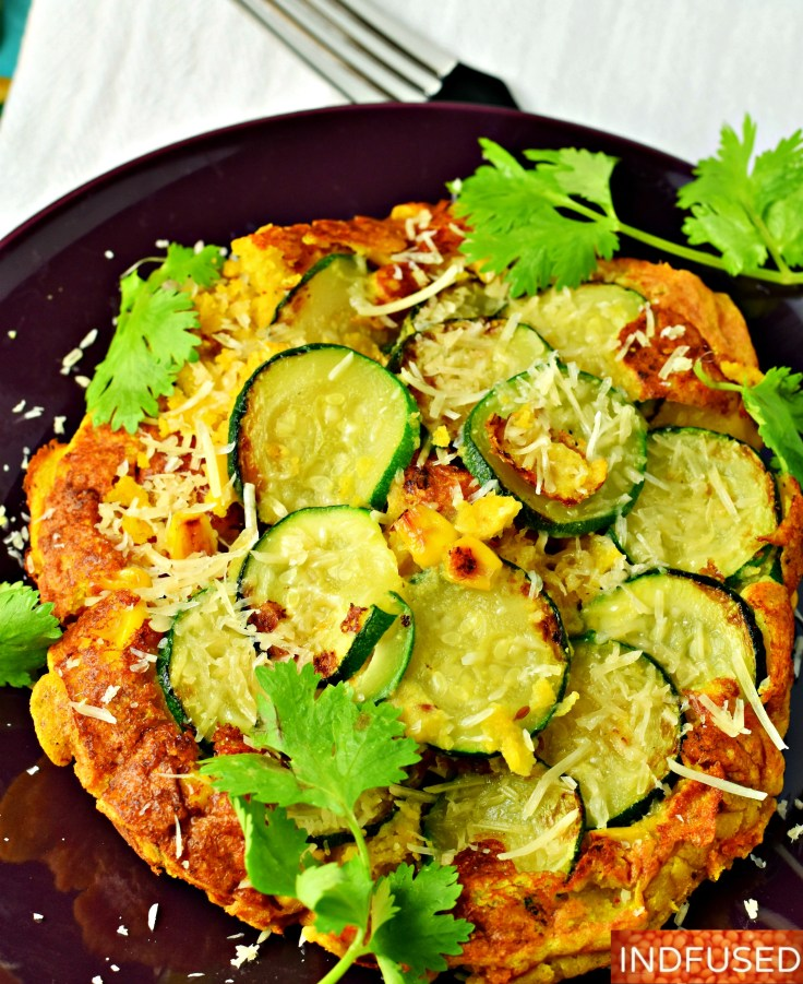 Zesty Zucchini Corn Cakes- Gluten free, vegan option, vegetarian, low fat recipe that is easy to make. serves 2