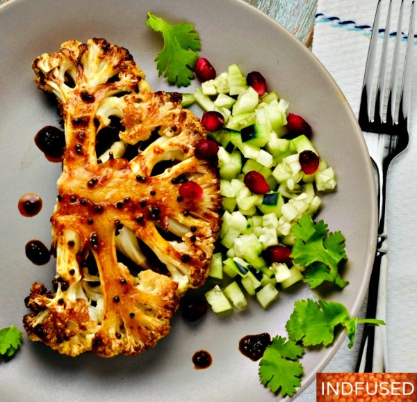 Vegetarian, savory and sweet Cauliflower Steaks with spices and maple syrup