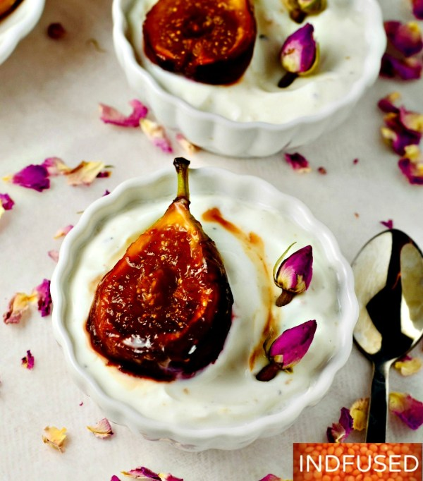 Honey Caramelized Fig Shrikhand- 5 ingredient recipe to celebrate Indfused's 5th anniversary!