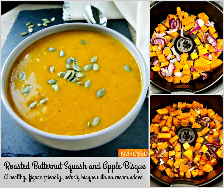 Air Fryer Roasted Butternut Squash and Apple Bisque
