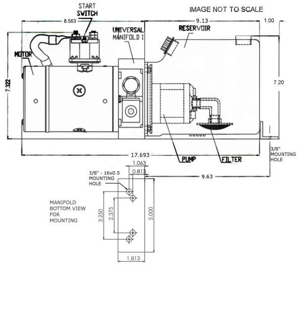 12V DC Single Acting Power Unit - 4 Quart Tank