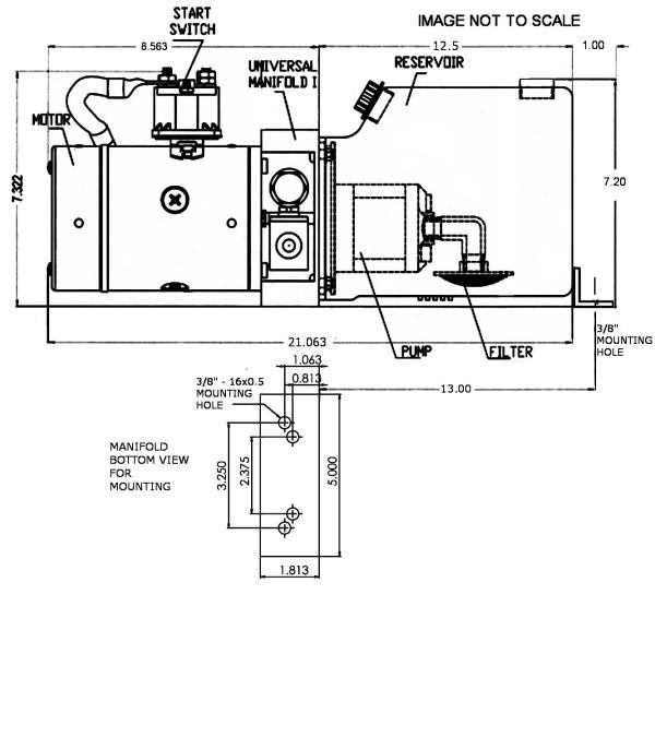 12V DC Single Acting Power Unit - 6 Quart Tank