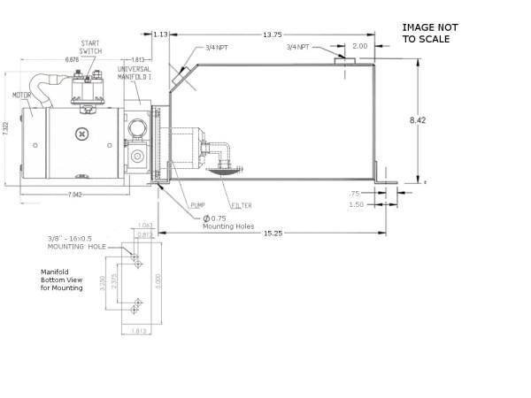 12V DC Single Acting Power Unit - 12 Quart Square Tank
